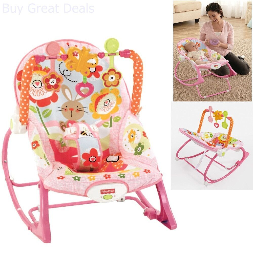 NEW Fisher-Price Infant To Toddler Bouncer Portable Rocker Pink Bunny Vibrating 728653644371 | eBay