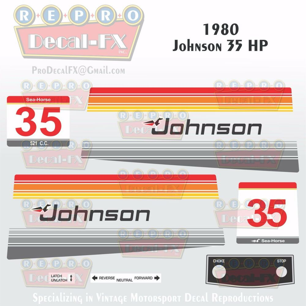 1980 Johnson 4.5HP Sea-Horse Outboard Reproduction 16 Piece Marine Vinyl Decals
