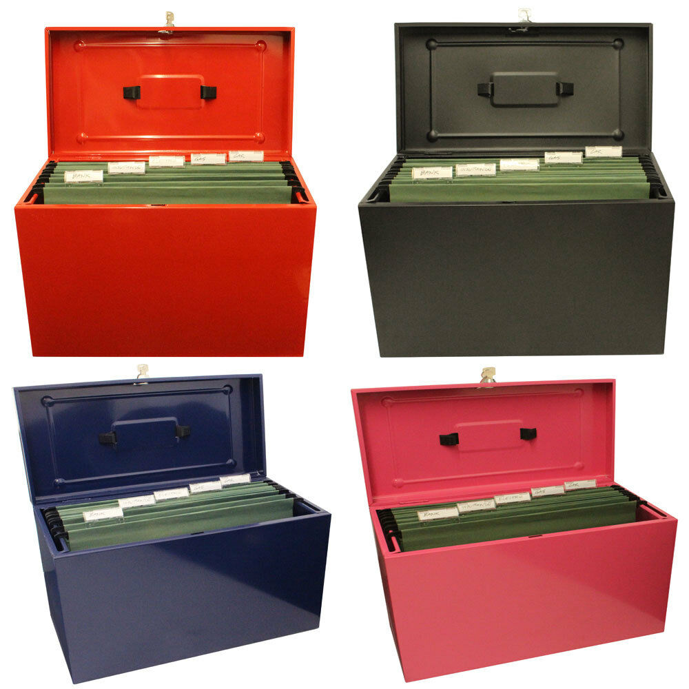 Lockable a4 metal file box filing storage inc 5 free for Whitmor document boxes set of 5