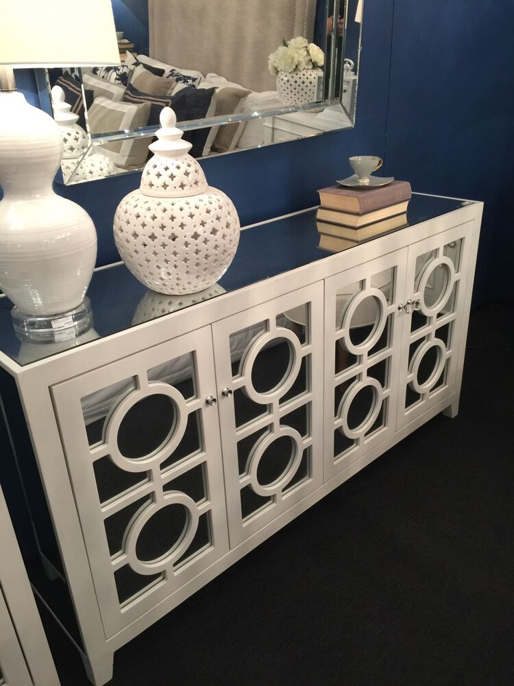 New stockton mirror mirrored buffet sideboard chest white for Miroir buffet