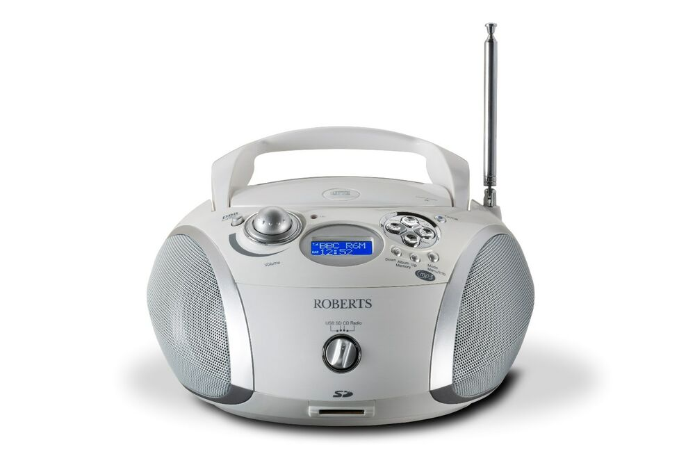 roberts zoombox2 in white dab dab fm rds cd player with. Black Bedroom Furniture Sets. Home Design Ideas