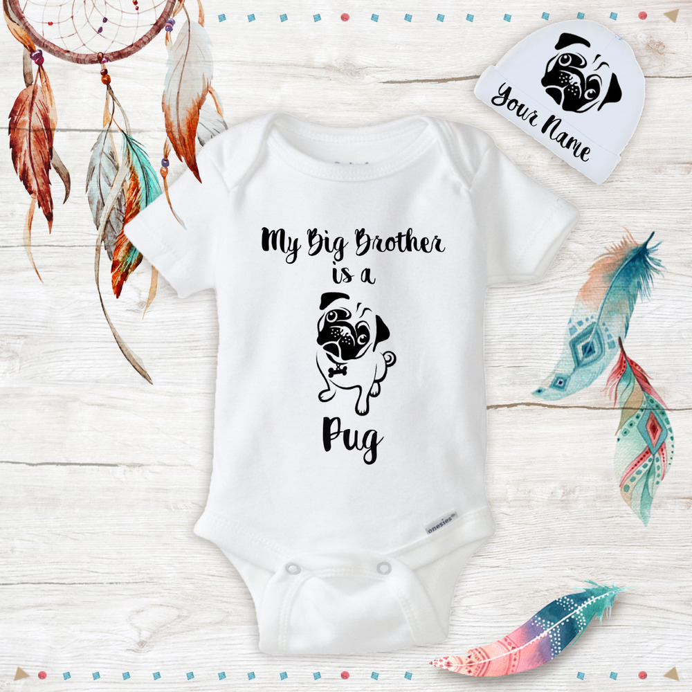 6eb564682a Details about Big Brother or Sister is a Pug Clothes Onesies   Hat Baby  Shower Gift Set Unisex