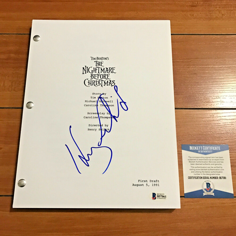 HENRY SELICK SIGNED THE NIGHTMARE BEFORE CHRISTMAS FULL MOVIE SCRIPT ...