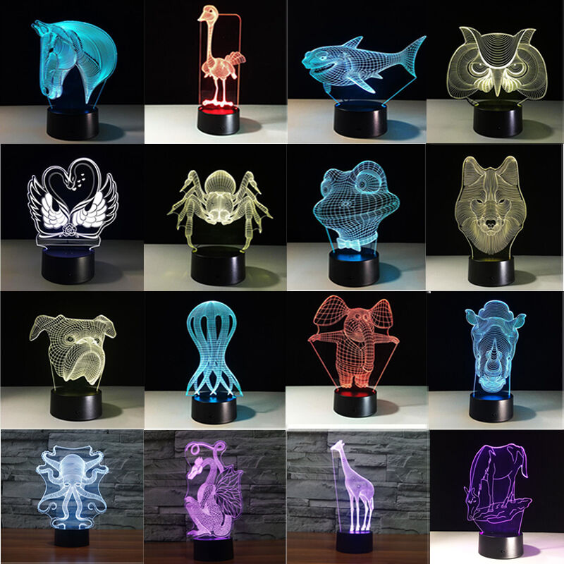 Animal Bedroom 3D Illusion LED Night Light 7 Color Touch