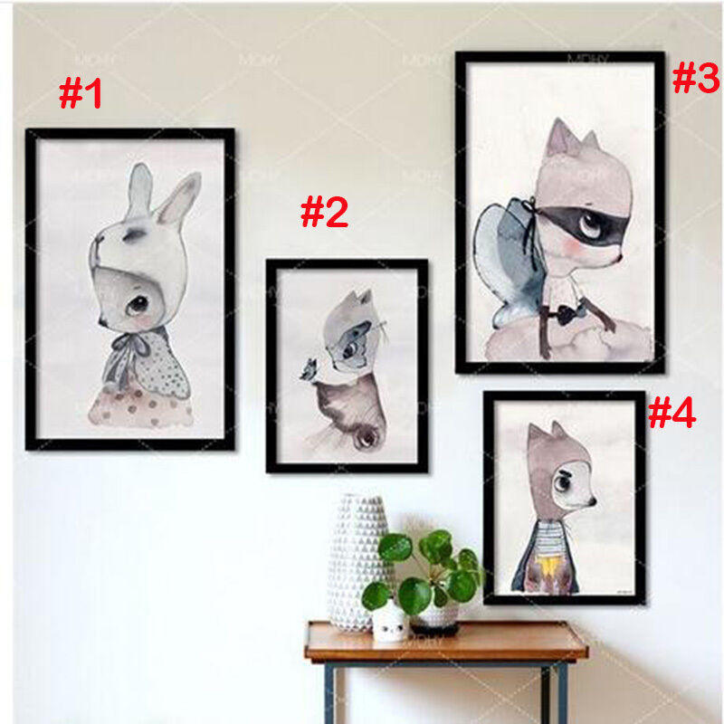 Cute rabbit cartoon poster wall art print canvas painting for Canvas painting for kids room