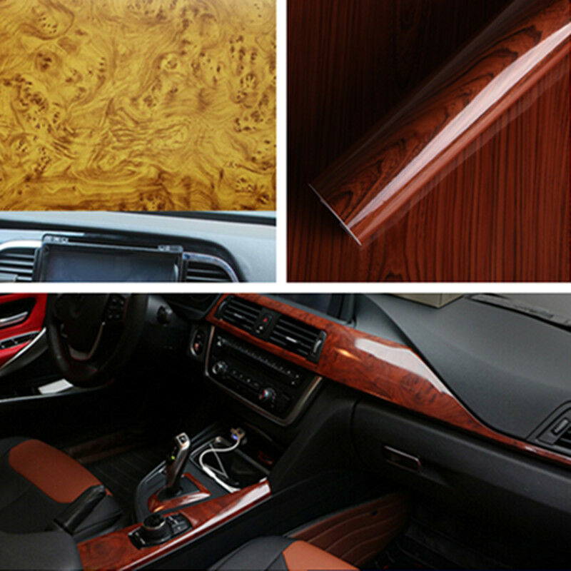 High Glossy Wood Grain Vinyl Sticker Decal Roll Car Interior Diy Film Wrap Ebay
