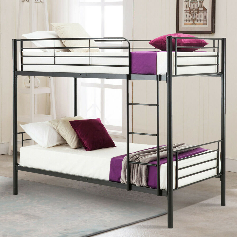 Twin Over Twin Metal Bunk Beds Frame Ladder Bedroom Dorm