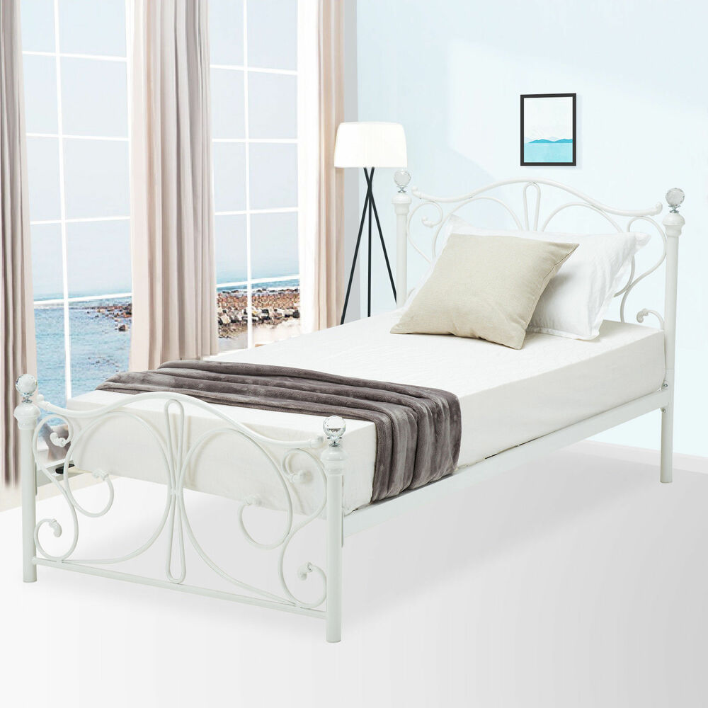 twin size metal bed frame cry finial headboard footboard bedroom furniture ebay. Black Bedroom Furniture Sets. Home Design Ideas