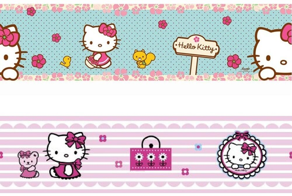 hello kitty selbsklebende bord re borte tapeten deko kinderzimmer sanrio neu ebay. Black Bedroom Furniture Sets. Home Design Ideas