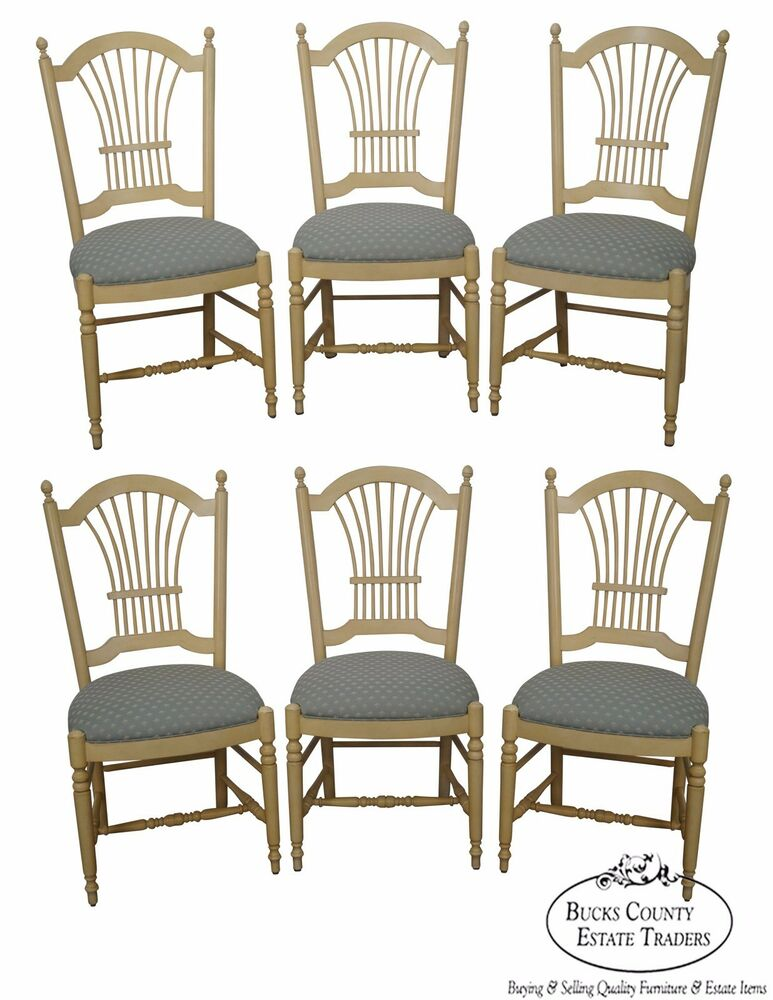 Ethan Allen Country French Set of 6 Wheat Back Dining