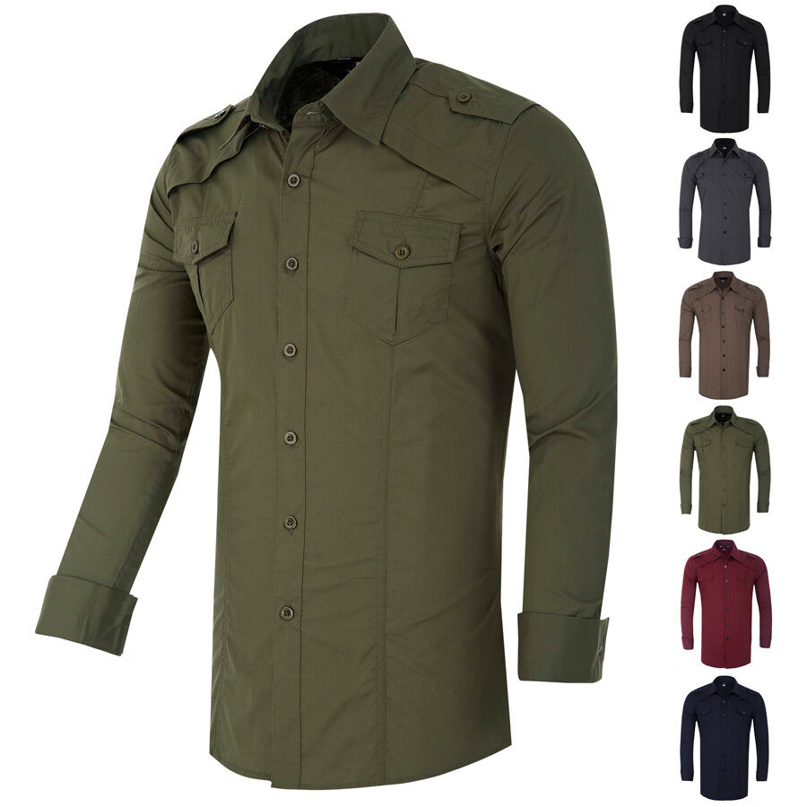 Military mens long sleeve casual formal shirts slim fit for Mens fitted dress shirts