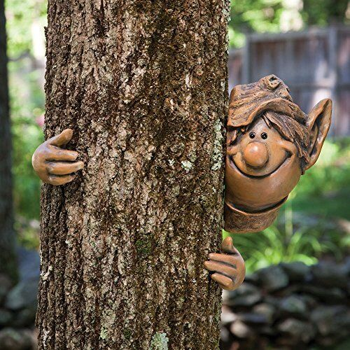 Garden tree face peeker elf tree hugger outdoor sculpture for Whimsical garden statues