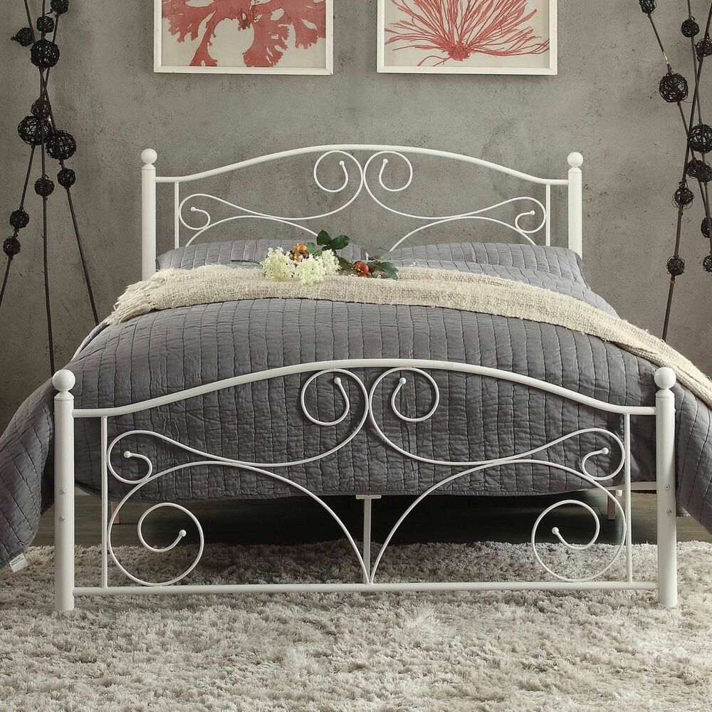 Wrought Iron Bed Frame Full Size Panel Headboard Foot Board Bedroom