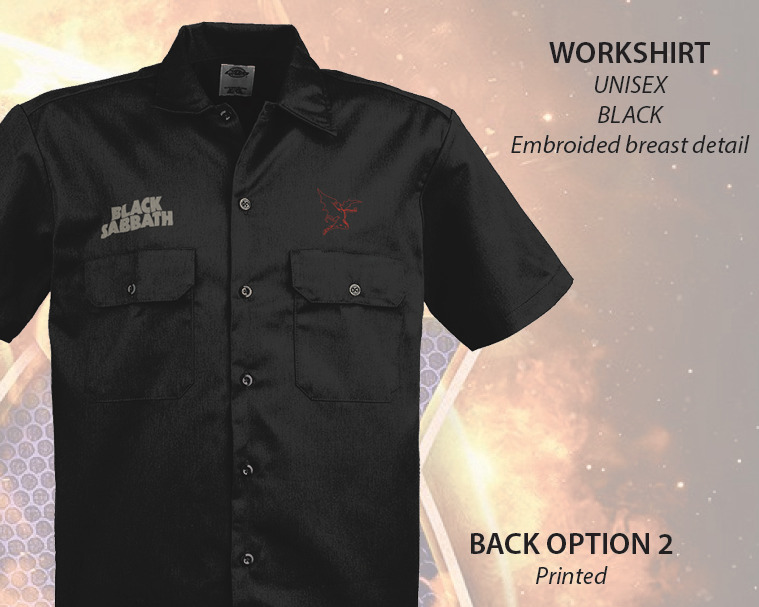 Black sabbath dickies work shirt embroidered new ebay for Embroidered dickies work shirts