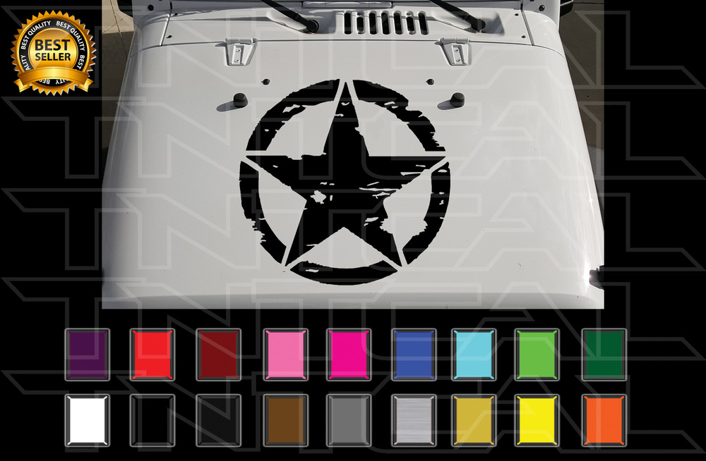20 Quot Distressed Military Star Jeep Hood Decal Wrangler Jk