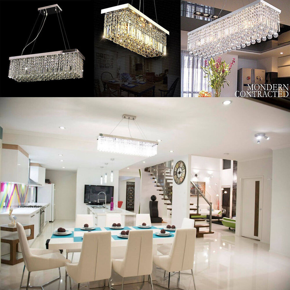 Glass Chandeliers For Dining Room: Rectangle K9 Crystal Chandelier Dining Room Light Fixtures
