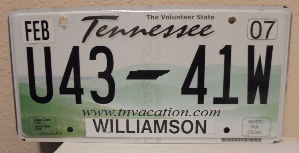 Tennessee License Plate - The Volunteer State TN Vacation U43 41W | eBay