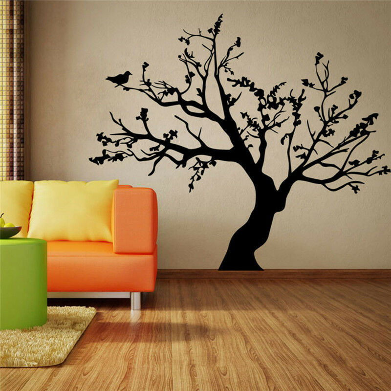 Pindia Black Flower Design Wall Sticker: DIY Removable Flower Tree Wall Sticker Decal Home Room