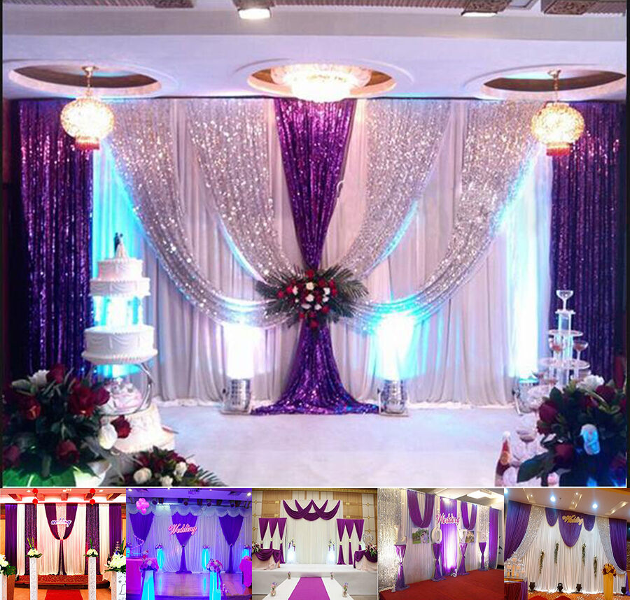 20x10ft wedding backdrop curtain purple decor sparkly sequin background for sale ebay. Black Bedroom Furniture Sets. Home Design Ideas