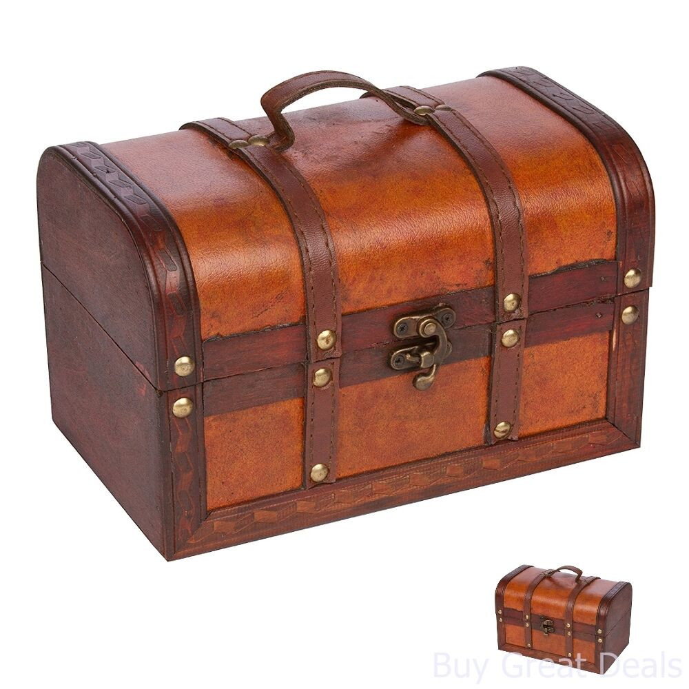 New small wooden leather antique chest suitcase jewelry toy treasure new small wooden leather antique chest suitcase jewelry toy treasure box storage publicscrutiny Image collections