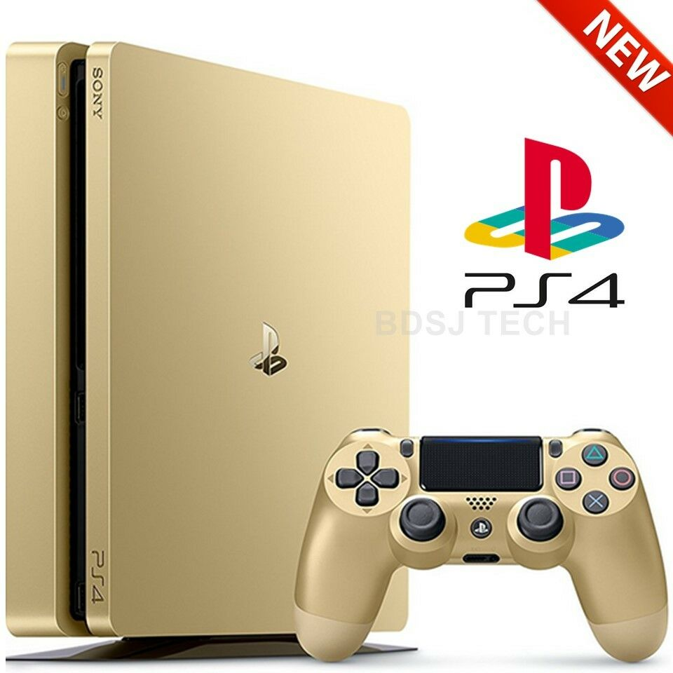 playstation 4 slim 1tb console ps4 gold limited edition sealed retail box 711719510048 ebay. Black Bedroom Furniture Sets. Home Design Ideas