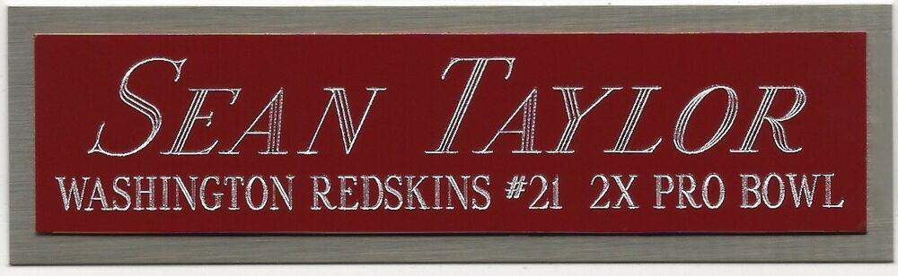 Sean Taylor Redskins Nameplate Autographed Signed Football