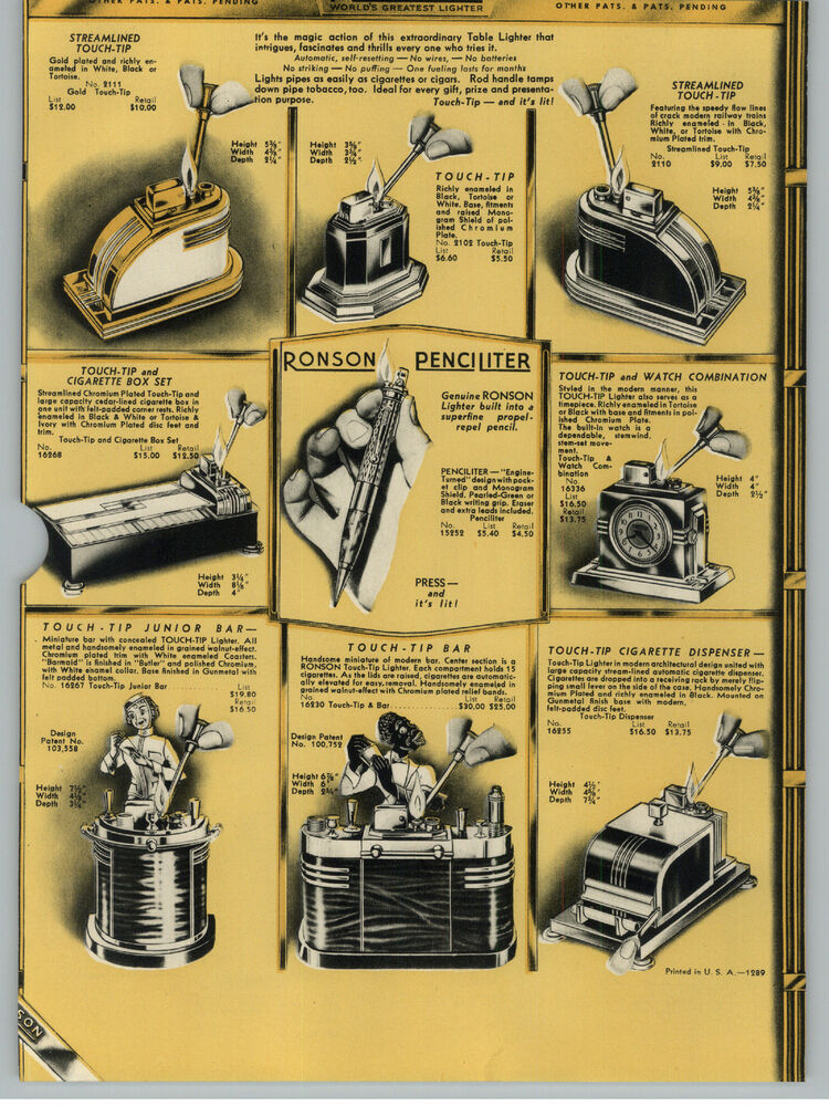 1938 Paper Ad Ronson Touch Tip Cigarette Lighter Watch