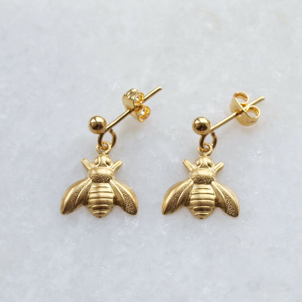 Details About Bee Earrings Gold Ear Posts Studs Small Raw Br Drop Charms Vintage Style Uk