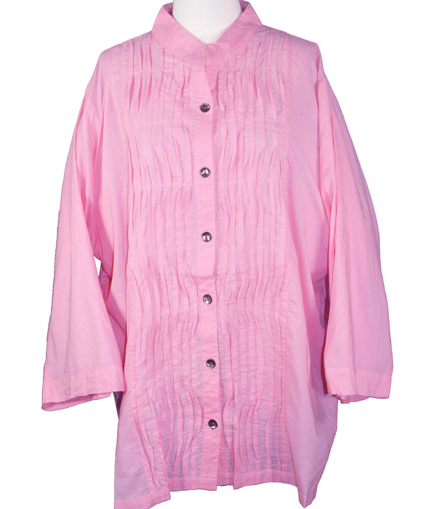 New silhouettes woman pink tucked voile button up shirt for Tucked in shirt plus size