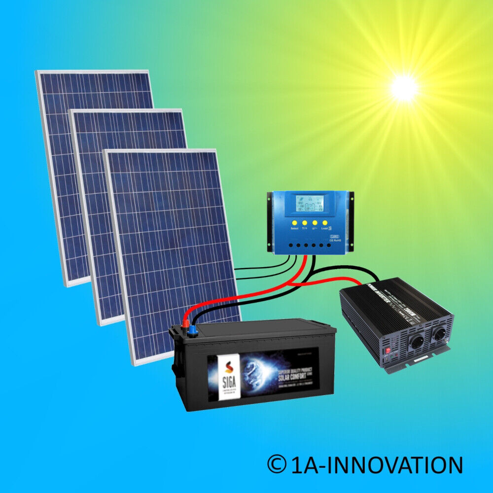 750w solaranlage komplettpaket 220v akku 280ah solarpanel 2000w wandler watt ebay. Black Bedroom Furniture Sets. Home Design Ideas