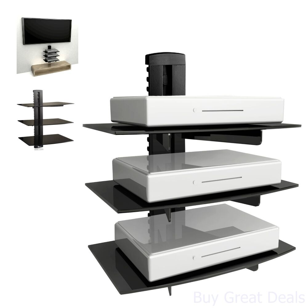 floating shelf wall mount tv accessory shelves dvd cable box gaming console new ebay. Black Bedroom Furniture Sets. Home Design Ideas