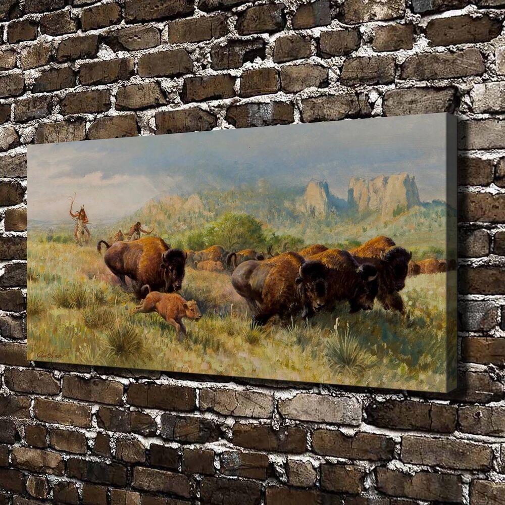 Indian buffalo chase paintings hd print on canvas home for Home decorations on ebay