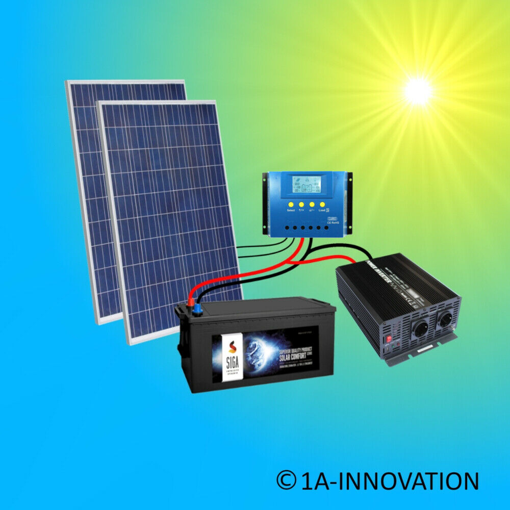 500w solaranlage komplettpaket 220v akku 280ah solarpanel 2000w wandler watt ebay. Black Bedroom Furniture Sets. Home Design Ideas
