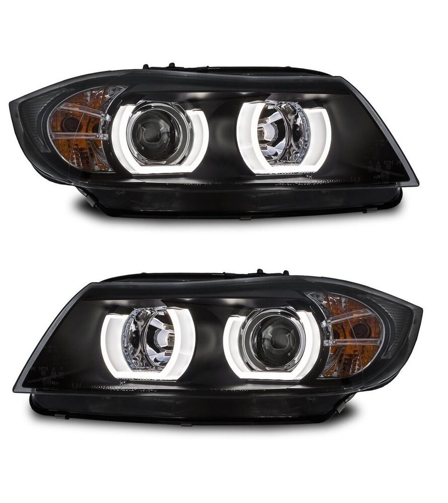 2 feux phare avant bi xenon d1s angel eyes led 3d bmw serie 3 e90 e91 phase 1 ebay. Black Bedroom Furniture Sets. Home Design Ideas
