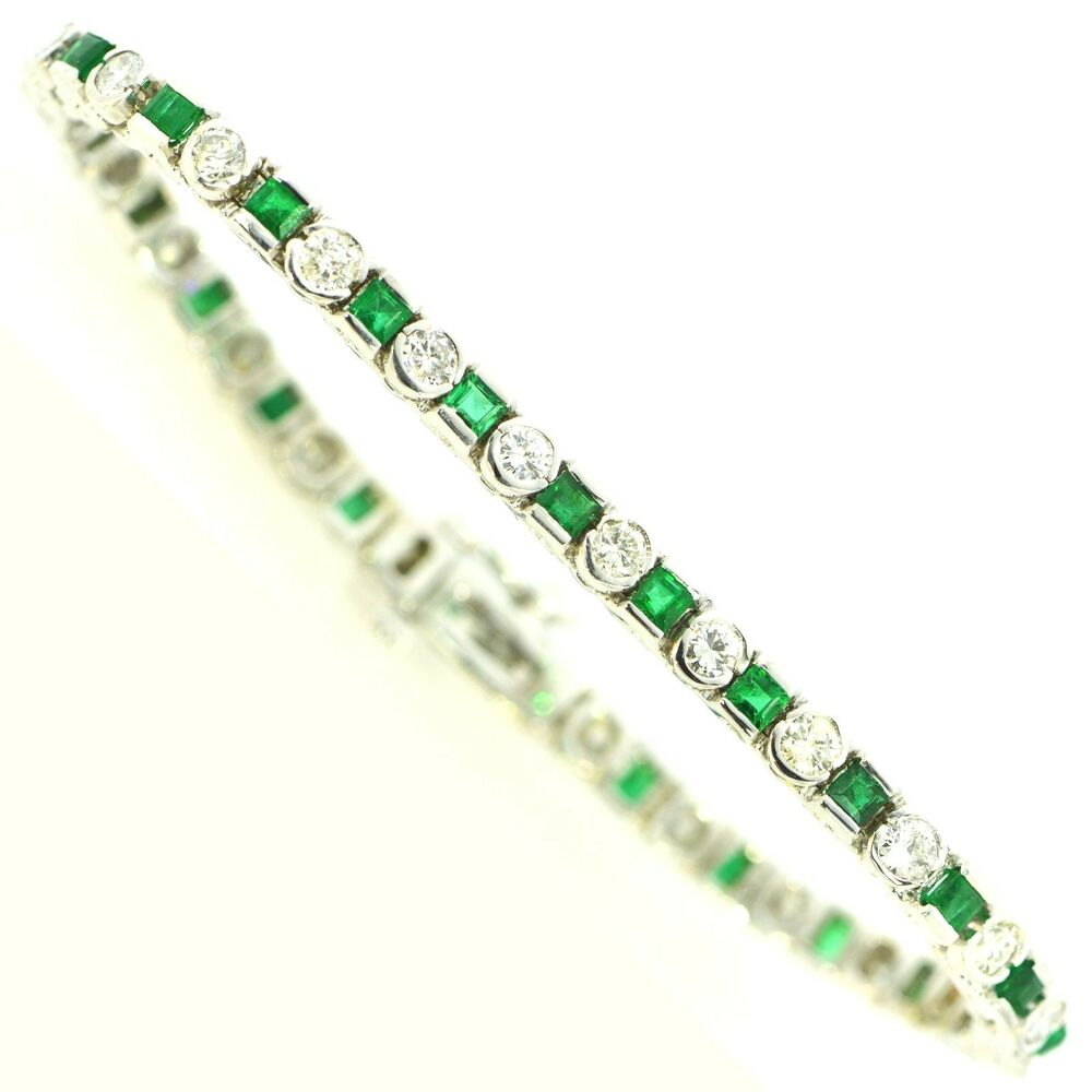 5 ct colombian emerald amp diamond tennis bracelet 14k white