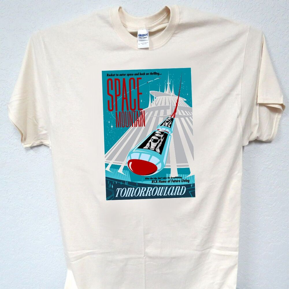 Space mountain disney retro poster t shirt size s m l for Size 5x mens dress shirts