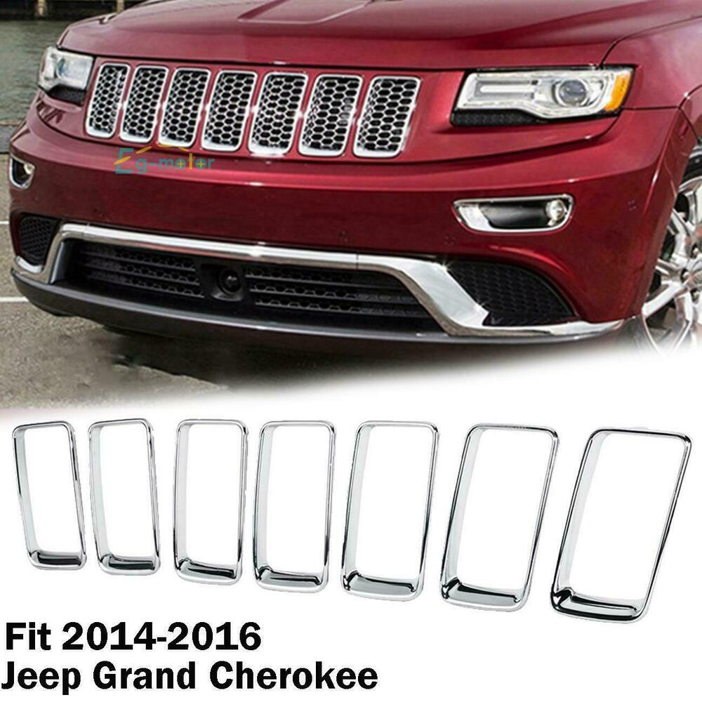 Chrome Front Grille Vent Hole Trim Ring Insert For 2014 2016 Jeep Grand Cherokee Ebay