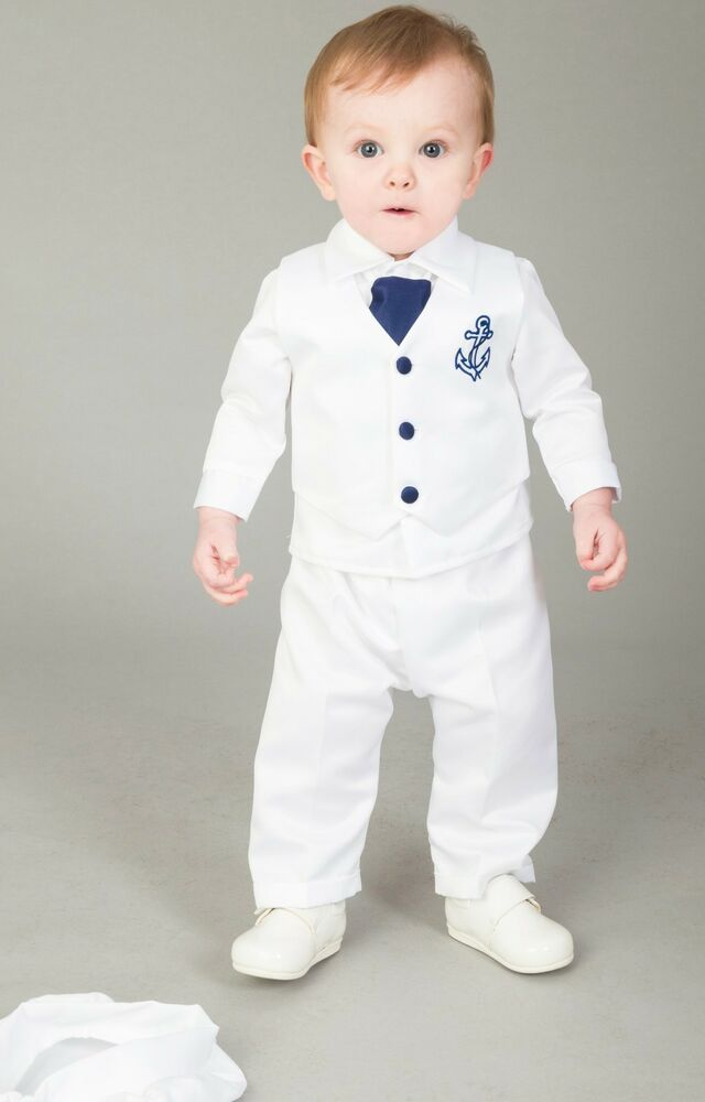 Baby Boys Christening Outfit / Christening Suit 4pc Sailor ...