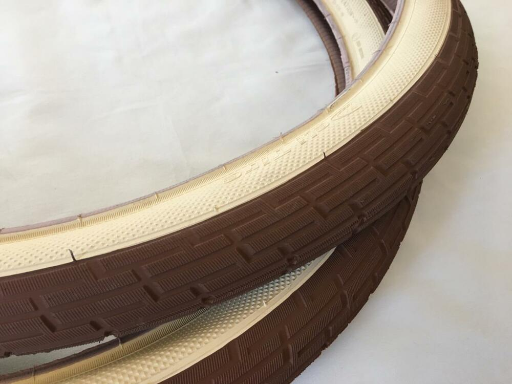 Two 2 Cream Brown Tan 26x2 35 Bicycle Fat Tires Slick