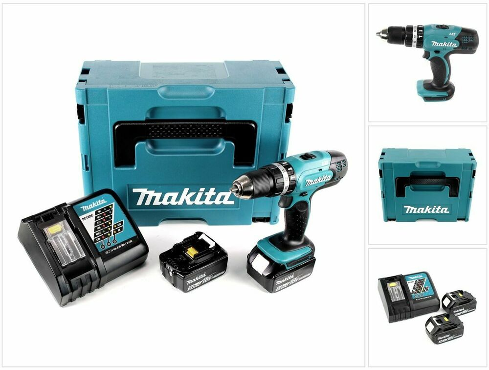 makita dhp 453 rtj 18v schlagbohrschrauber makpac 2x 5 0 ah akku ladeger t ebay. Black Bedroom Furniture Sets. Home Design Ideas