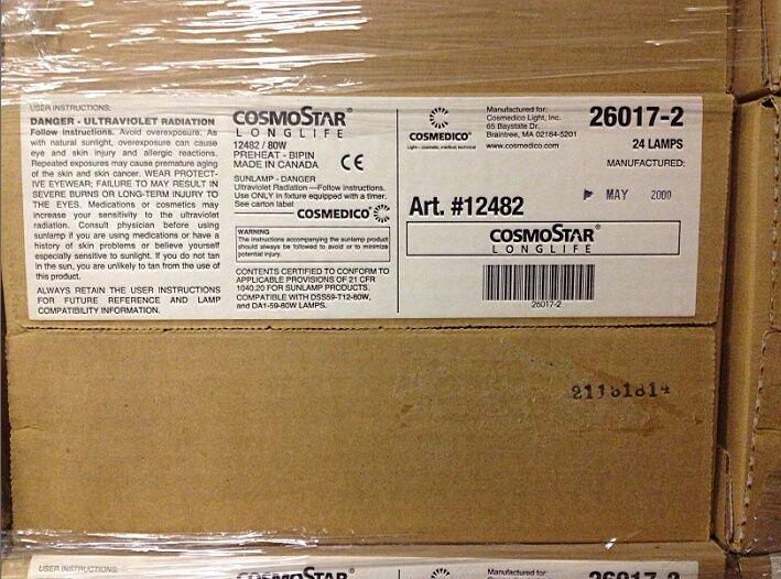 New Box Of 24 Cosmedico Cosmostar 26017 2 Tanning Bed Lights Bulbs