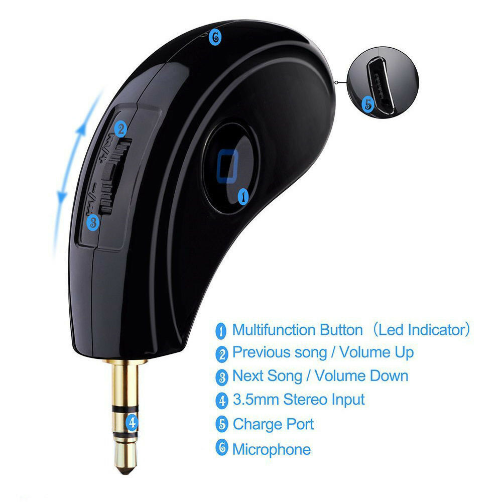 3.5mm Jack Plug In AUX Car Speaker Audio Bluetooth Stereo Music Receiver Adapter