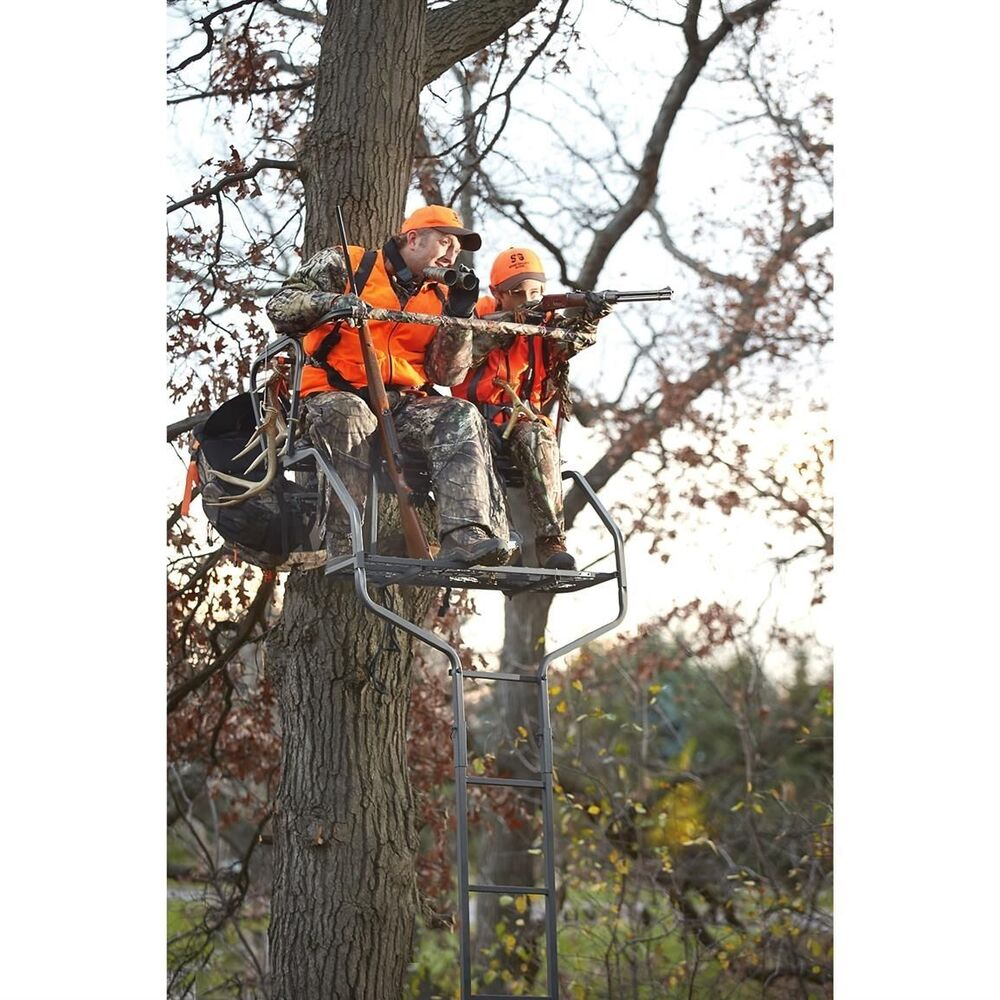 2 Man Ladder Tree Stand For Deer Hunting Bow 18 Deluxe