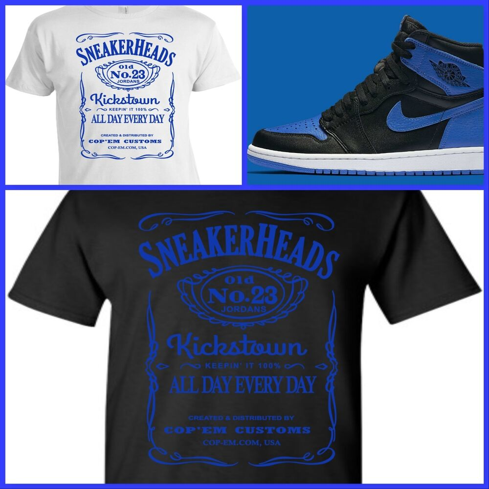 Exclusive tee t shirt 1 to match air jordan 1 or 31 royal for Jordan royal 1 shirt