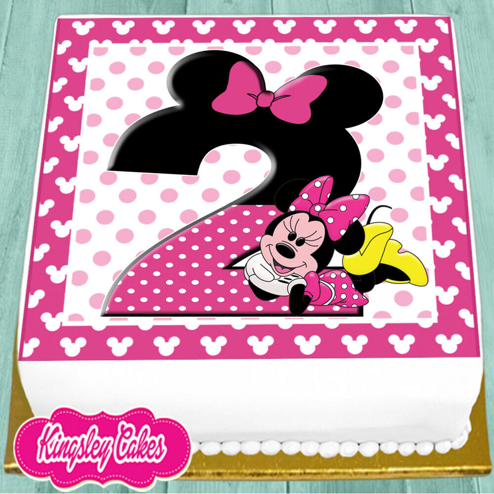 PRECUT EDIBLE ICING 7.5 INCH MINNIE MOUSE 2ND HAPPY