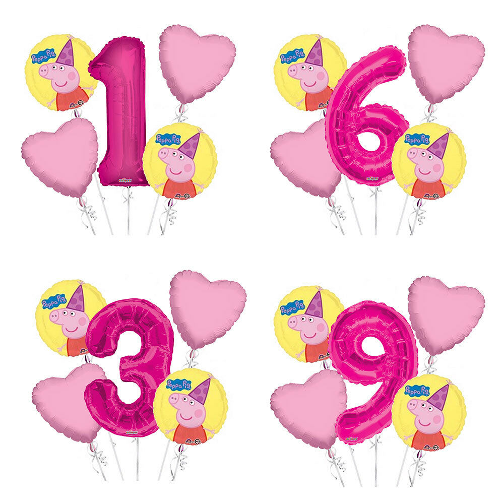 Details About Peppa Pig 1 9 Birthday Balloon Bouquet 5 Pcs Girls Party Pink Heart