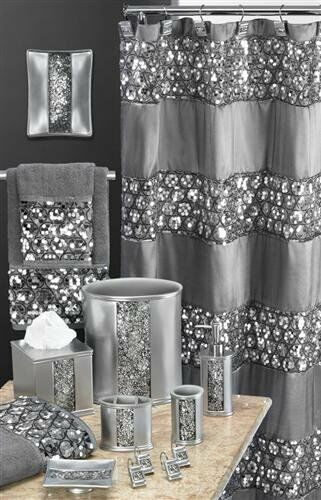 Details About Curtain Shower Bath Bathroom Fabric Sequins Metallic Silver Polyester Modern