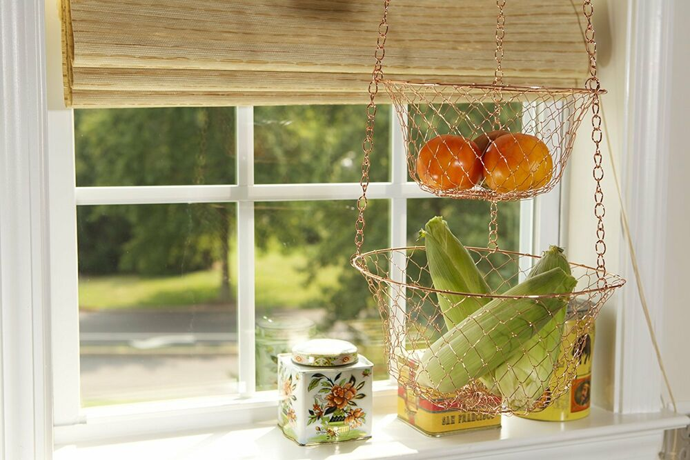 hanging kitchen basket 3 tier storage rack fruit vegetable. Black Bedroom Furniture Sets. Home Design Ideas
