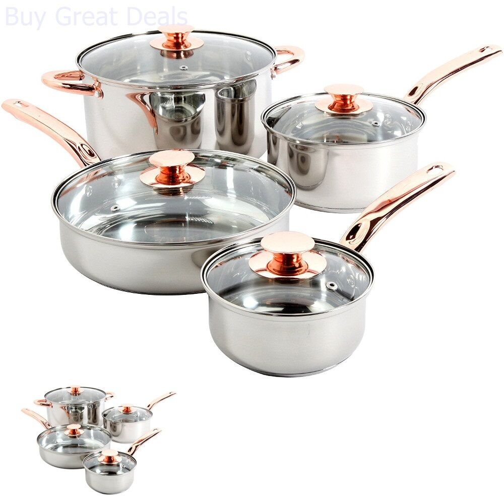 stainless steel 8 piece cookware set non stick cooking pots and pans kitchen ebay. Black Bedroom Furniture Sets. Home Design Ideas