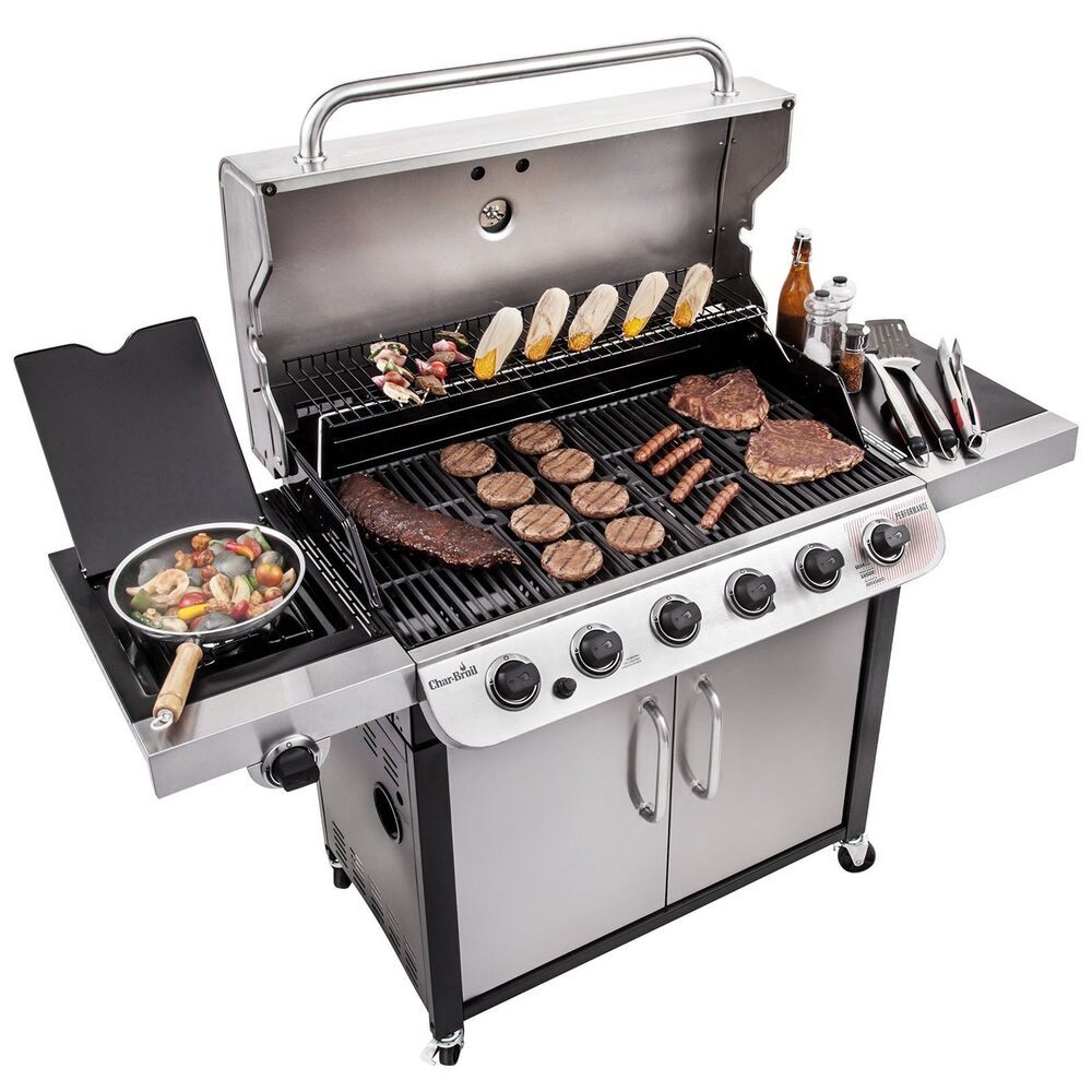 char broil performance 650 6 burner cabinet gas grill new 2 day shipping ebay. Black Bedroom Furniture Sets. Home Design Ideas
